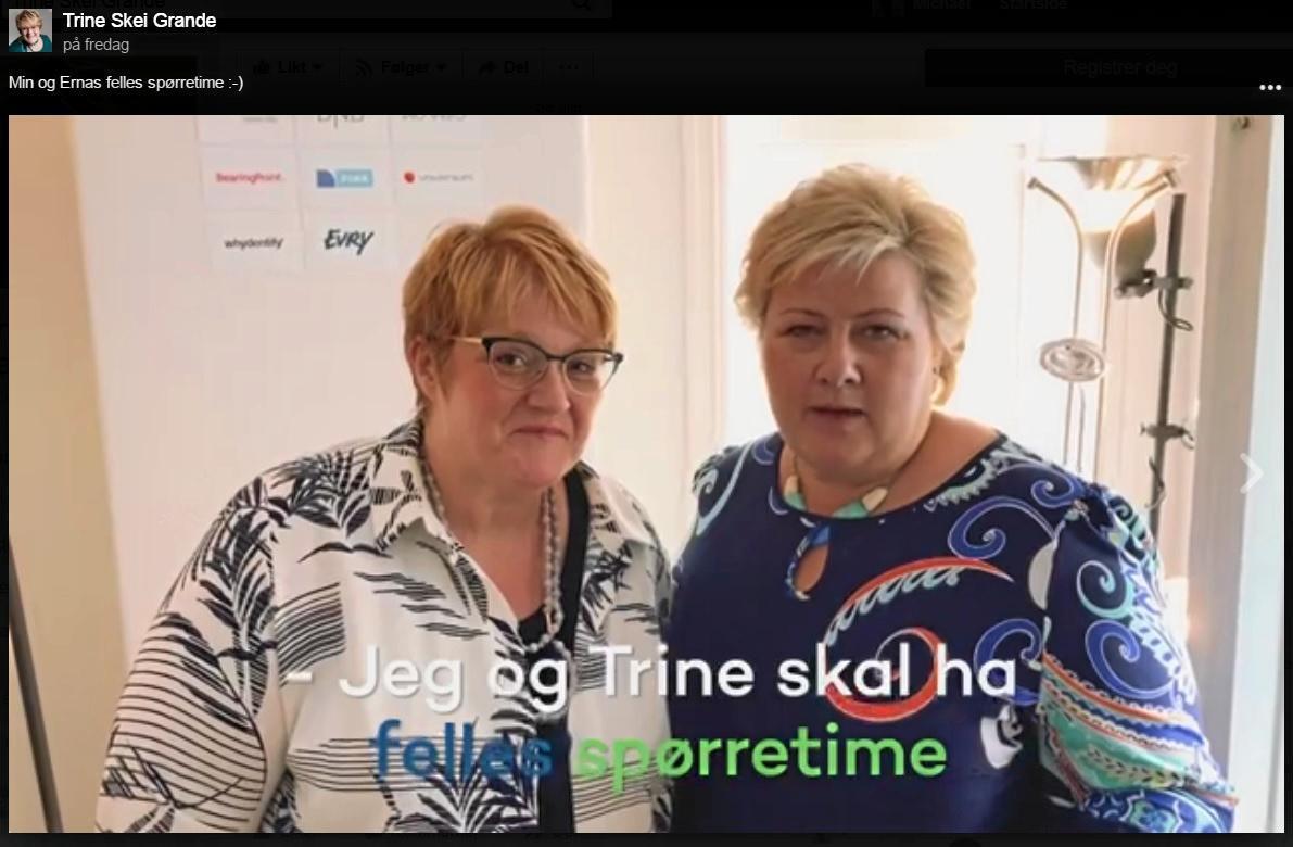 Sammen: Trine Skei Grande og Erna Solberg reklamerer for felles nettspørretime. Skjermdump fra Facebook.
