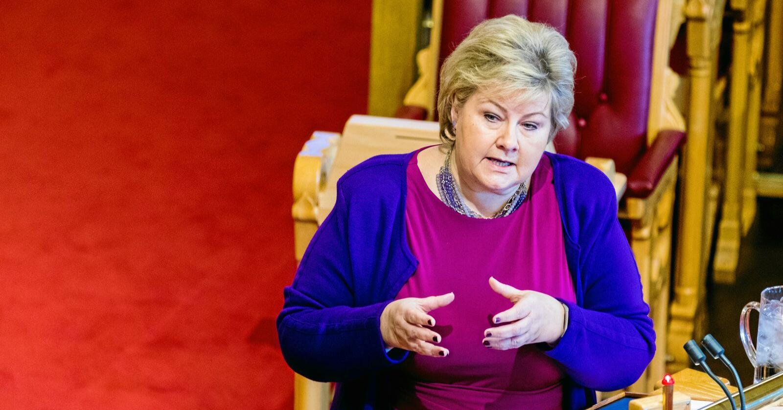 Stortinget: Statsminister Erna Solberg lovpriste NorthConnect under den muntlige spørretimen forrige uke. Foto: Gorm Kallestad / NTB scanpix