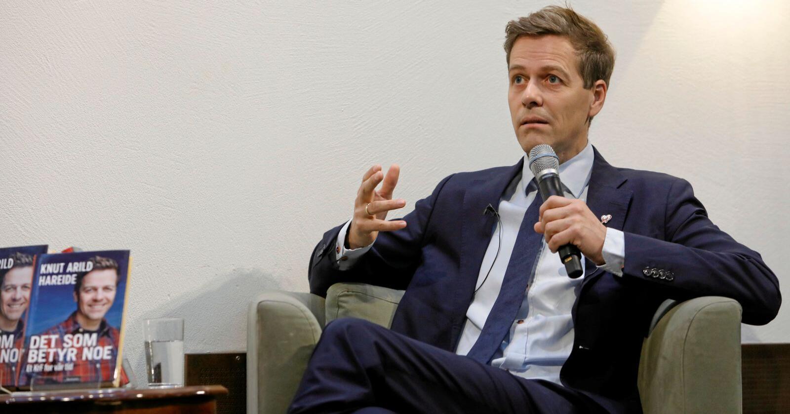Før, i september 2018: KrFs daværende partileder Knut Arild Hareide lanserer boka «Det som betyr noe: Et KrF for vår tid». Hva betyr noe nå?Foto: Ole Berg-Rusten / NTB scanpix