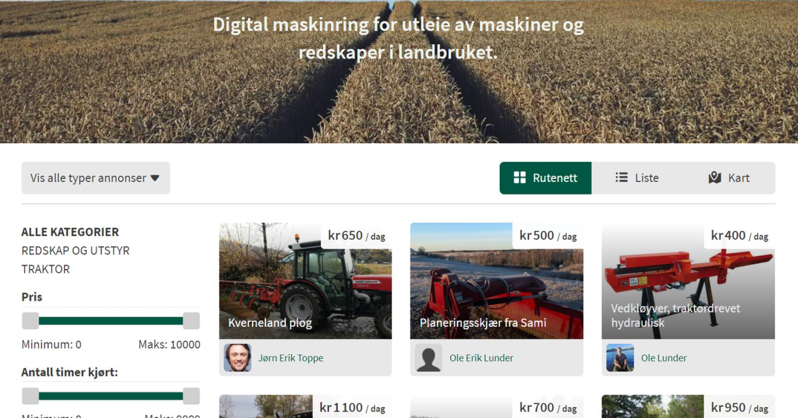 Deling: Landbruksformidling.no er en delingsplattform for maskiner og redskap. Foto: Skjermdump
