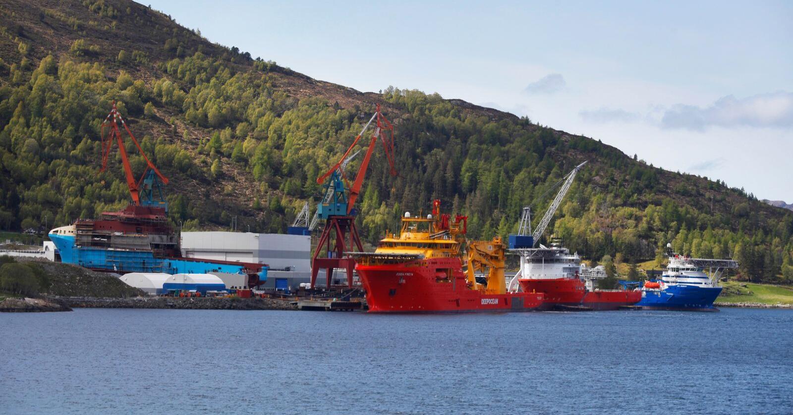 Illustrasjonsbilde fra Kleven Verft i Ulsteinvik i Møre og Romsdal. Foto: Halvard Alvik / NTB