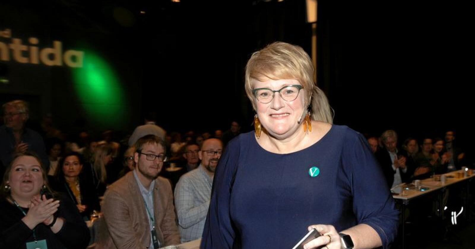 Trine Skei Grande på  Venstres landskonferanse lørdag. Foto: Terje Bendiksby / NTB scanpix