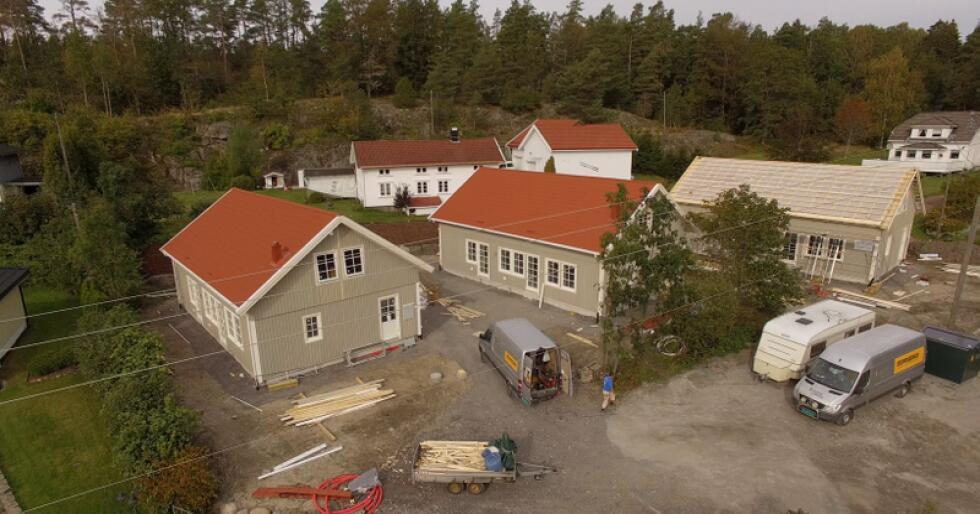 På Kjøpmannskjær i Vestfold skal tre hus av modellen Åse på plass. Foto: Lars Unneberg