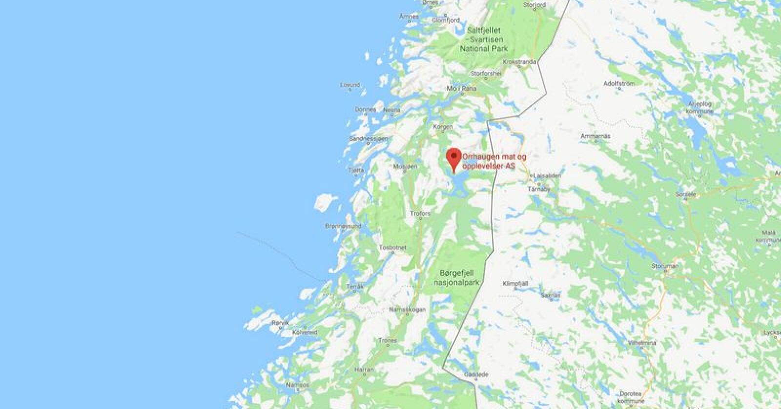Orrhaugen gård ligger på Hemnes i Nordland. Skjermdump: Google Maps