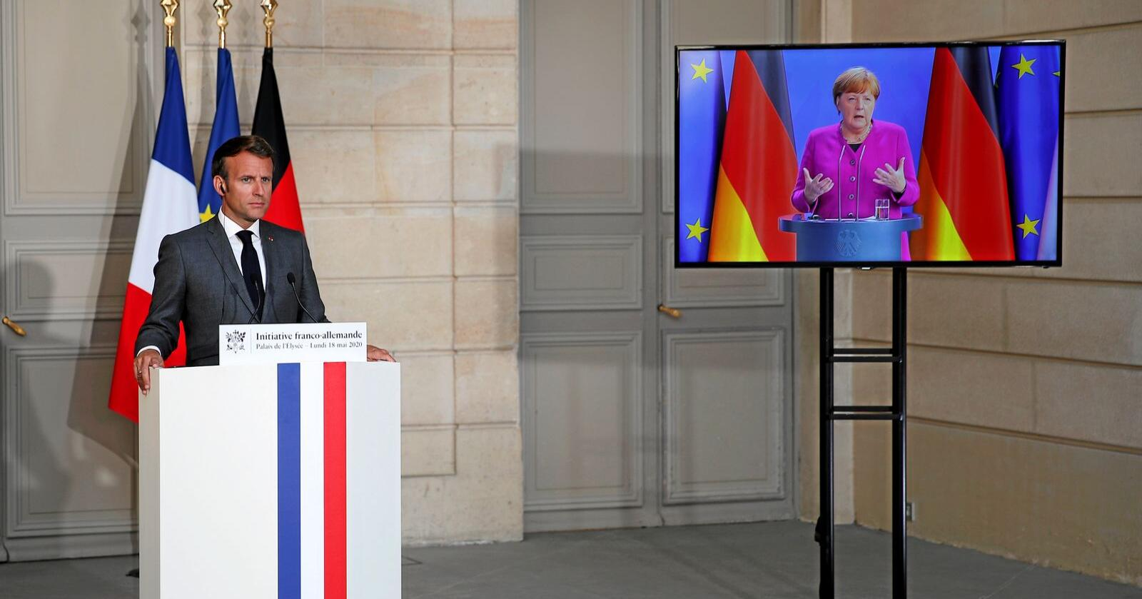 Mot finansunion: Emmanuel Macron og forbundskansler Angela Merkel er enige om en koronakrisepakke på totalt 1000 milliarder euro. Foto: Francois Mori / AP / NTB scanpix