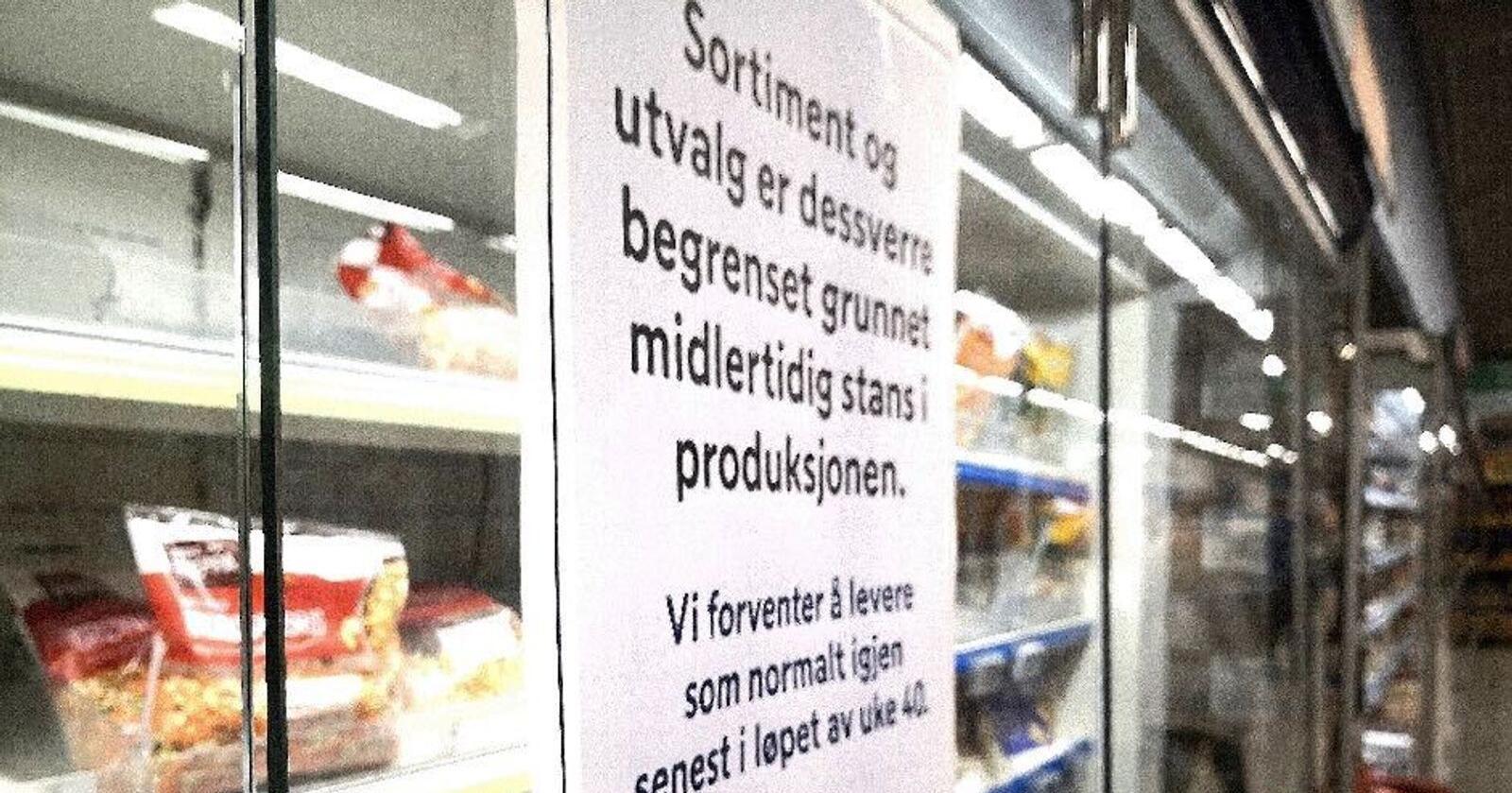 Smitteutbruddet ved Bamas avdeling på Lierstranda gjør at butikkhyllene tømmes for salat- og grønnsaksblandinger. Foto: Jon-Fredrik Klausen