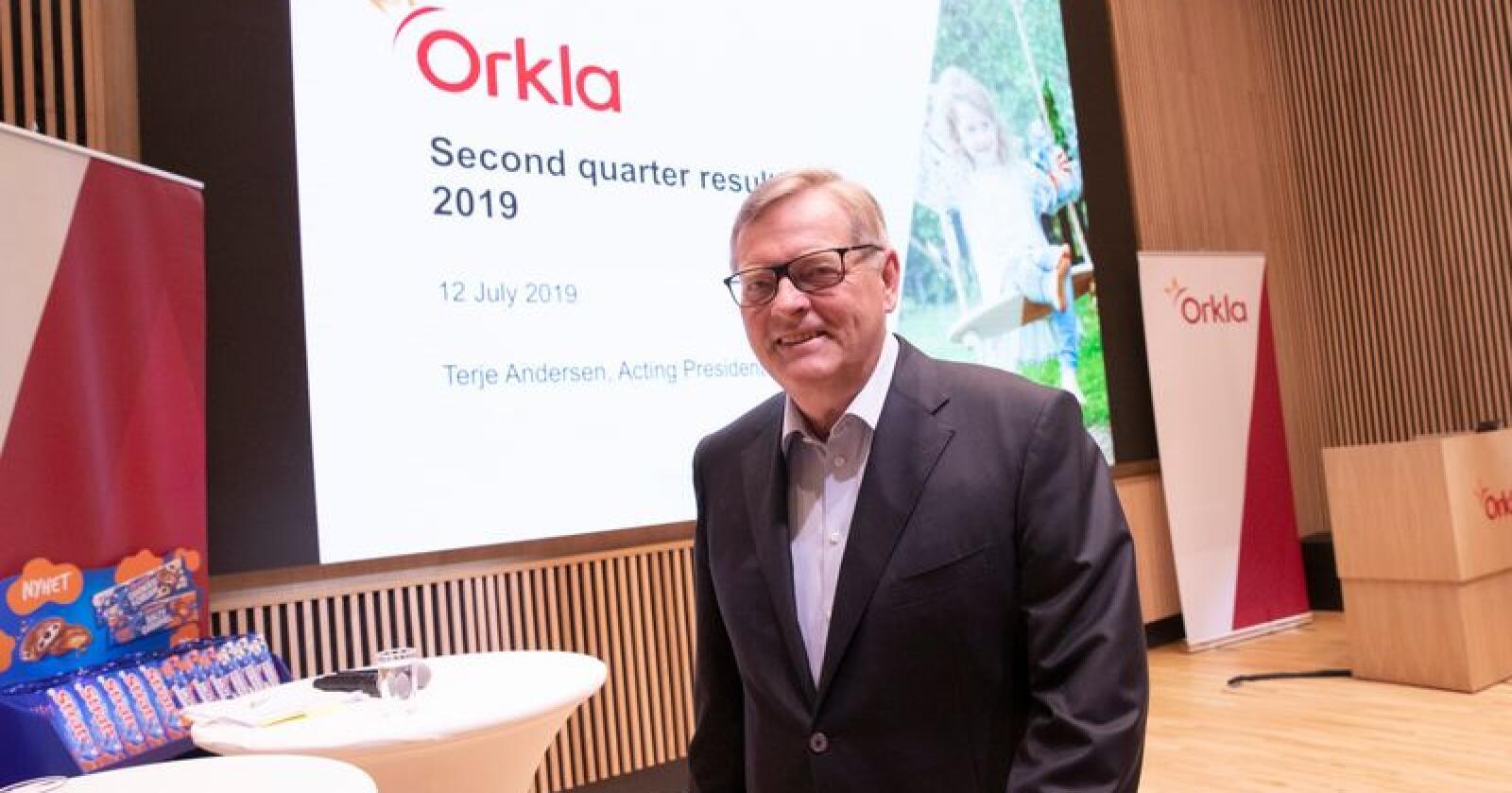 Konserndirektør Terje Andersen under presentasjonen Orklas resultater for 2. kvartal Foto: Terje Bendiksby / NTB scanpix