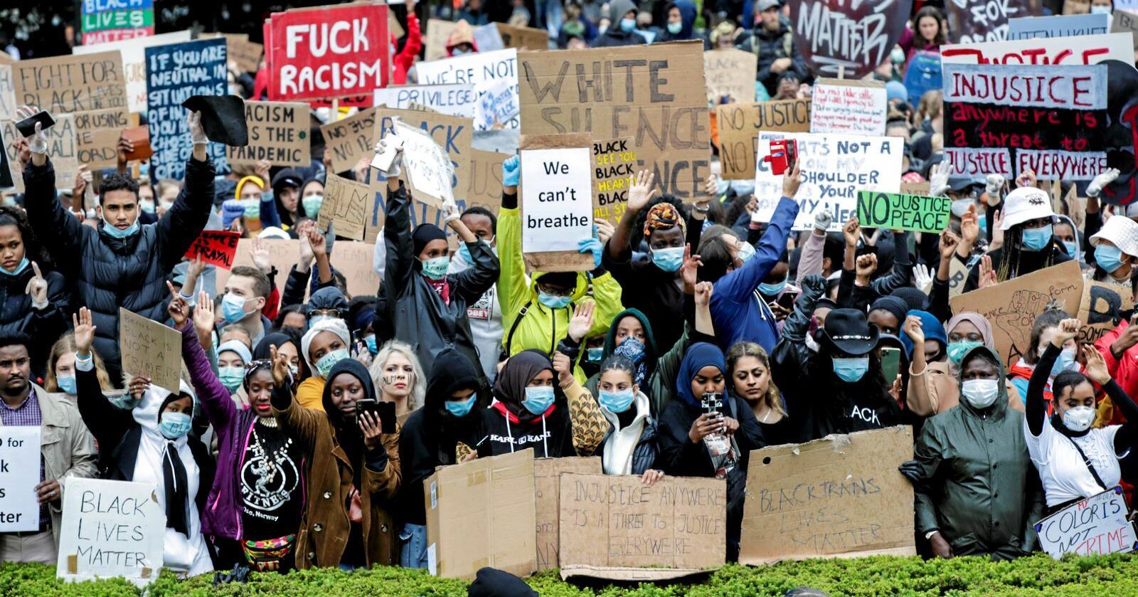 Black Lives Matters: Antirasismebevegelsen har fått mange grupper til å protestere mot diskriminering og sette ord på sin egen opplevelse av ikke å få puste. Foto: Vidar Ruud / NTB scanpix