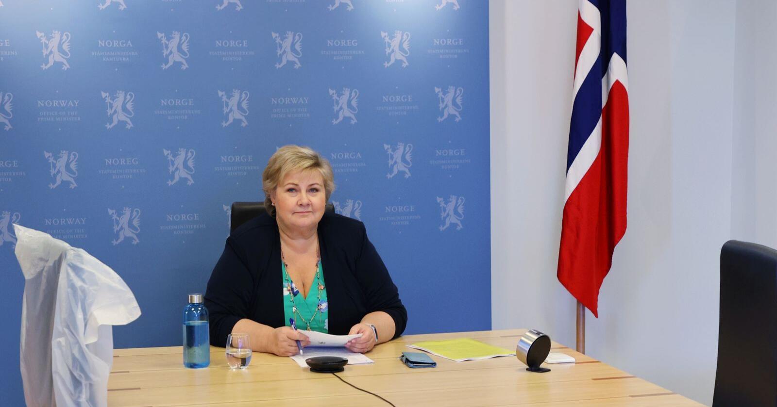 Statsminister Erna Solberg har videomøte med de nordiske statsministrene.Foto: Ørn E. Borgen / NTB scanpix
