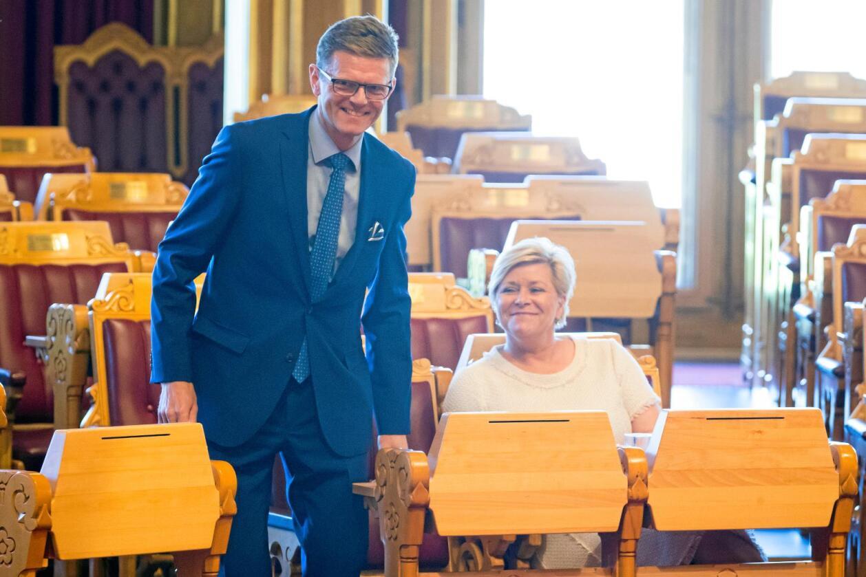 Spagat: Venstre-politikere skiller lag i synet på samarbeid med Siv Jensen og Frp. Her med Terje Breivik (V). Foto: Heiko Junge / NTB scanpix