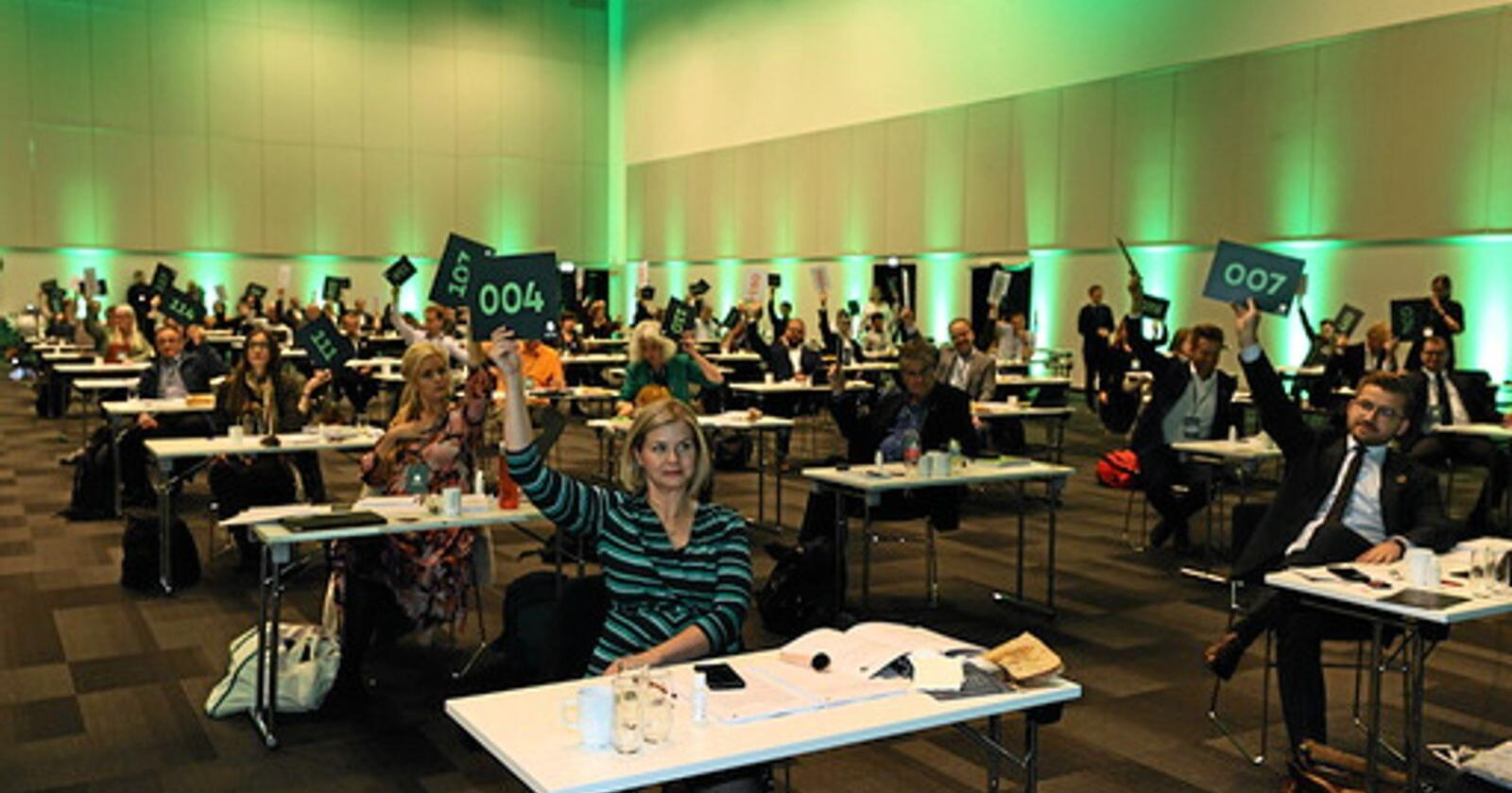 Landsmøte Venstre 2020. Som første parti i landet som snur i EU-saken, sier Venstre nå ja til EU. Foto: Geir Olsen / NTB