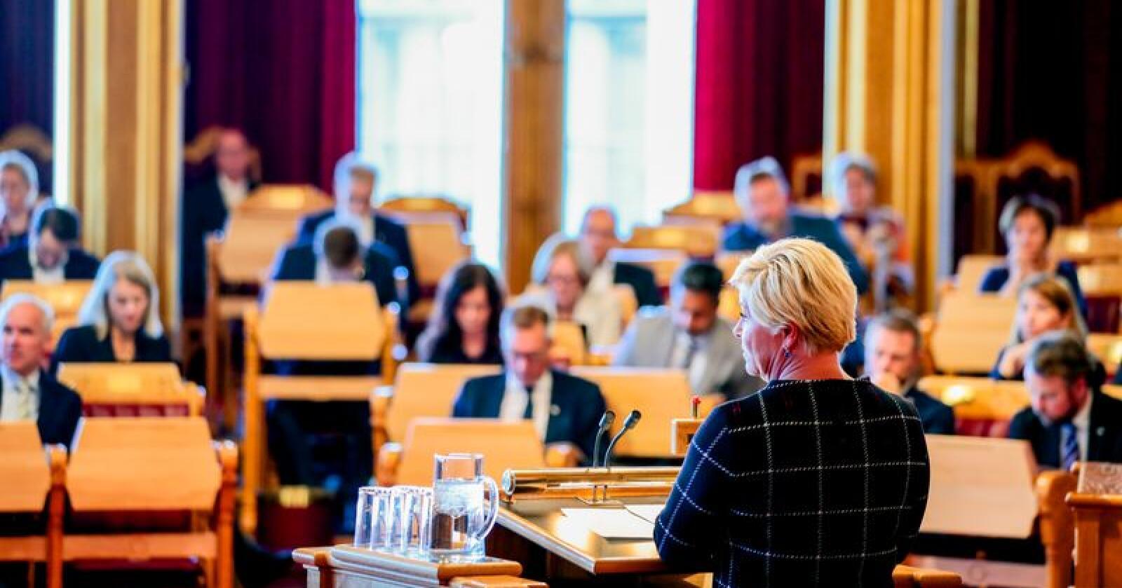 Finansminister Siv Jensen (Frp) kutter i oljepengebruken for første gang siden regjeringen tiltrådte i 2013. Foto: Håkon Mosvold Larsen / NTB scanpix