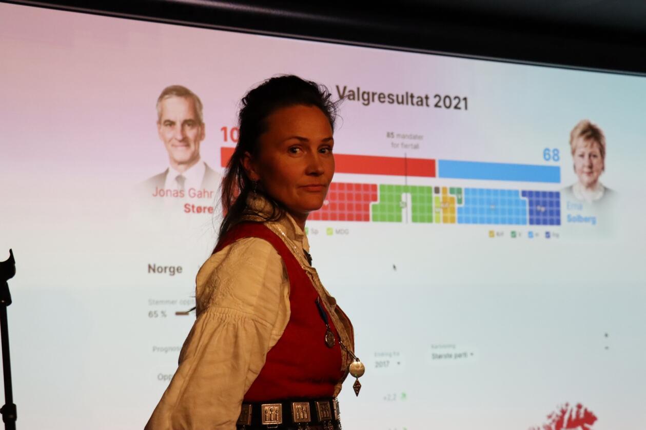 Leiar i Bunadsgeriljaen, Anja Cecilie Solvik på valvaken i Kristiansund. Foto: Janne Grete Aspen