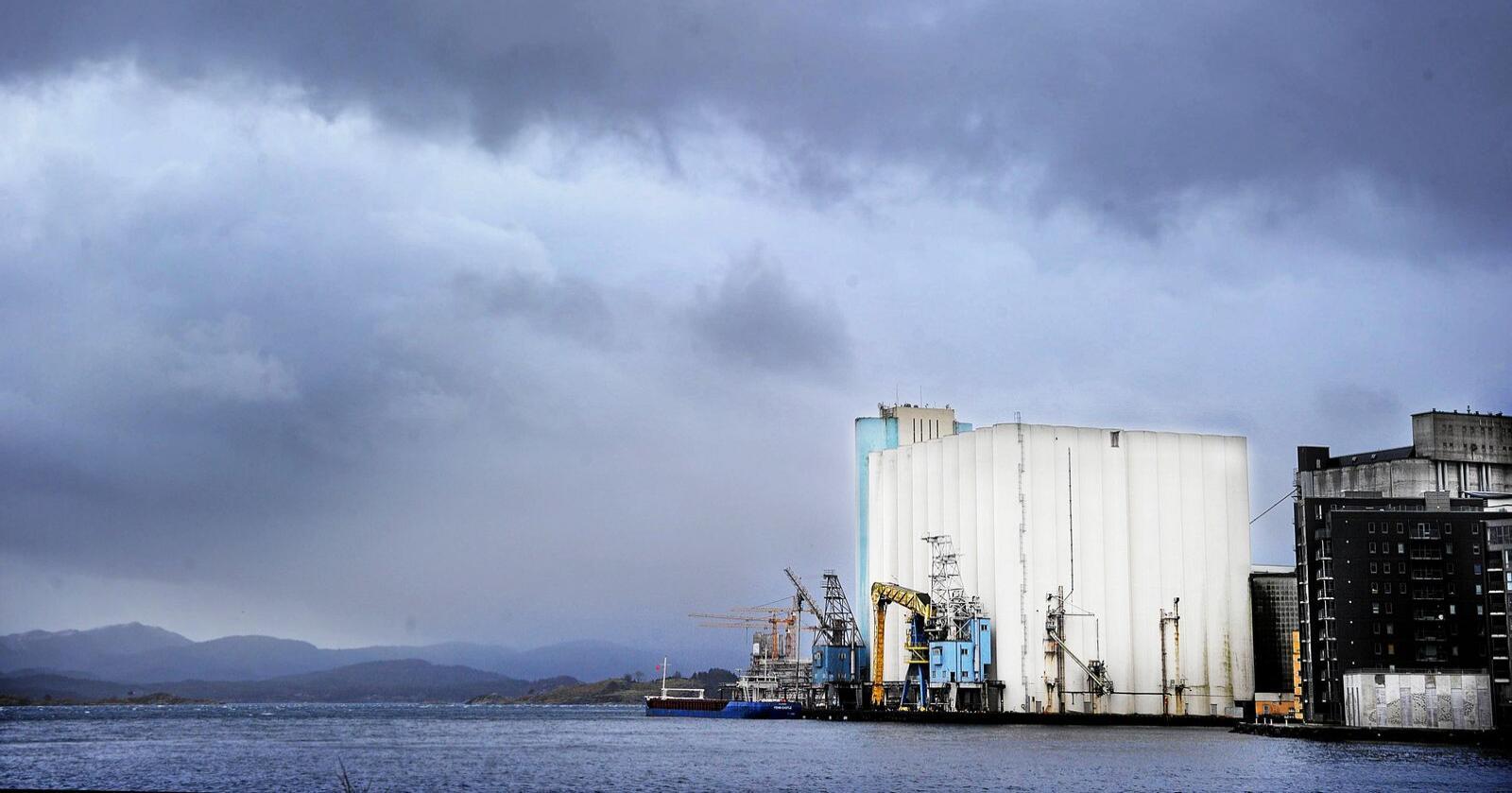 Beredskap: Felleskjøpet Agri kjøpte i 2014 opp Stavanger Havnesilo etter at Cermaq ville selje det fordi staten ikkje lenger ville finansiere eit beredskapslager for korn. Foto: Siri Juell Rasmussen